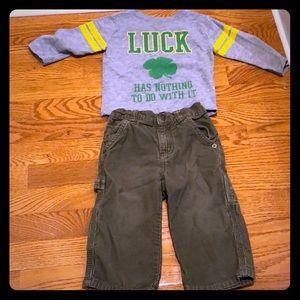 Irish set olive green corduroys and novelty shirt